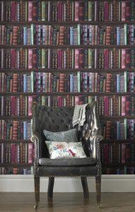 Fresco Bookshelf Multi Wallpaper – Dekorhuys