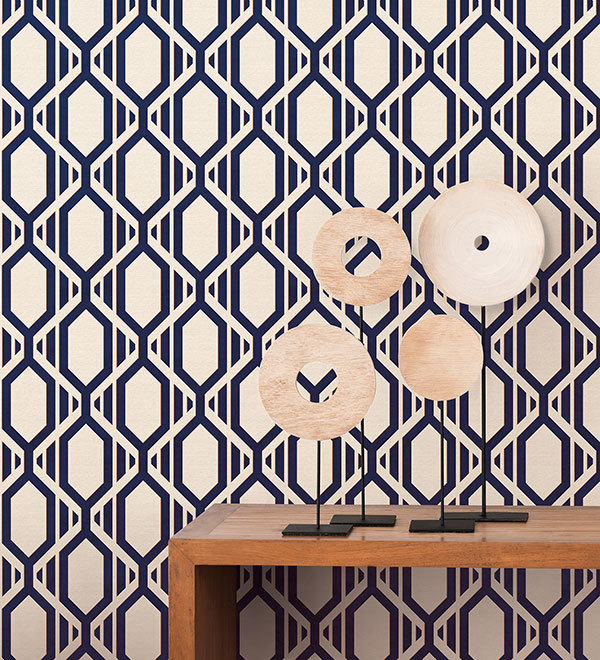 white navy and gold large geometric wallpaper dekorhuys