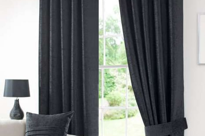 Eyelet curtain grey